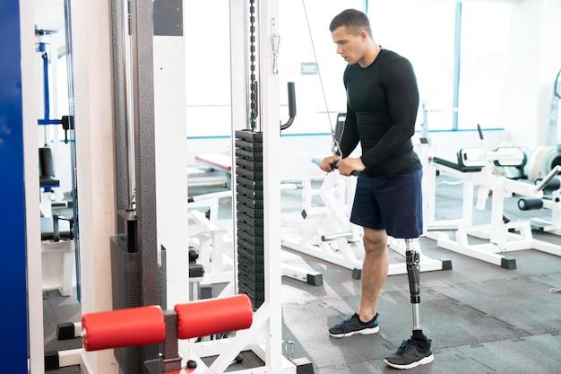 Training on sport gym