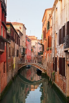 Traitional venice houses over small canal in old town, italy