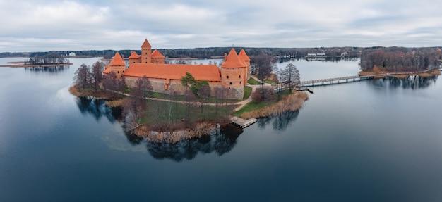 Trakai castle aerial wide view, lithuania