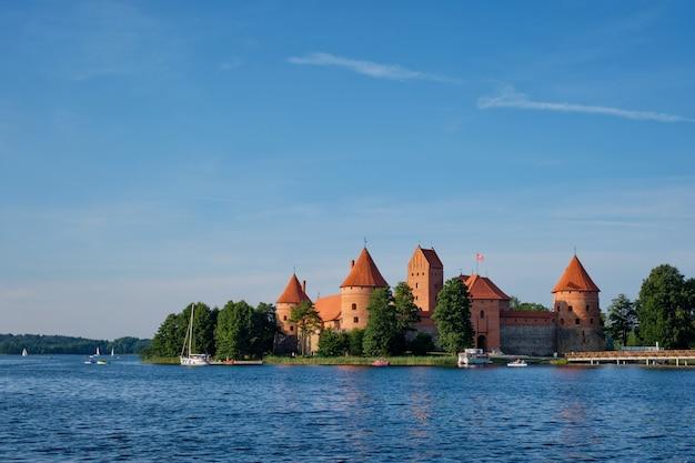 Trakai island castle in lake galve lithuania