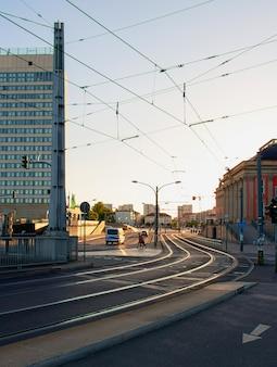 Tram lines in berlin, germany
