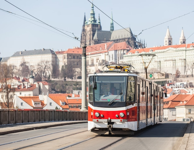 Tram in prague with castle