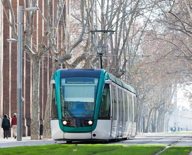 Tram on street