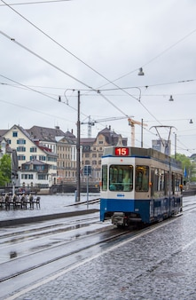 Tram on the streets of zurich