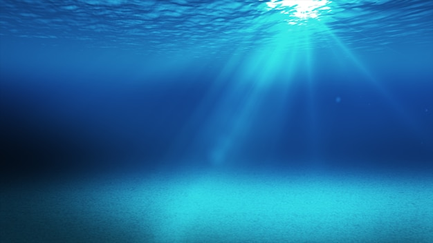 Tranquil blue underwater scene with copy space