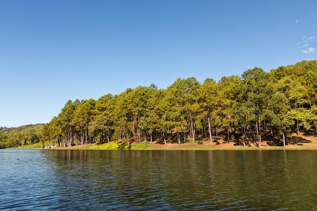 Спокойный пейзаж на озере, с ярким небом