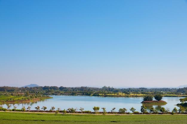 湖畔公園の静かな風景