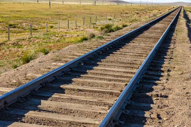 Trans mongolian railway, single-track railway in steppe