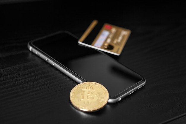 The transfer of the dollar from the wallet to bitcoin on the smartphone. blockchain.