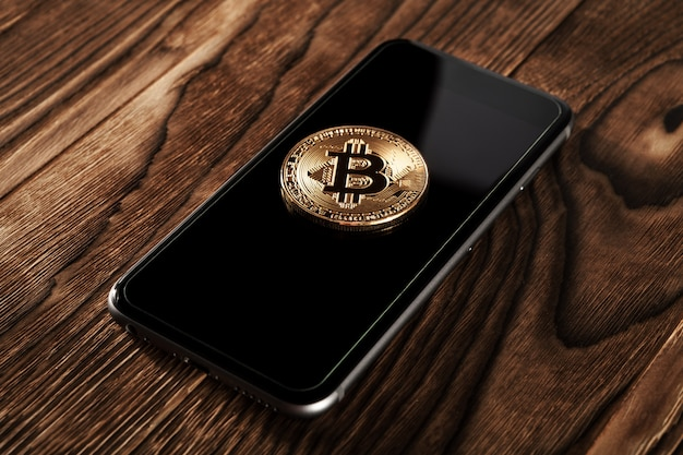 The transfer of the dollar from the wallet to bitcoin on the smartphone.