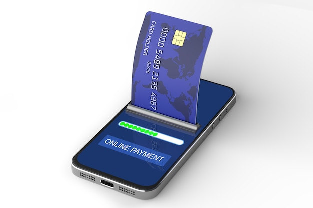 Перевод платежей с помощью смартфона. бесконтактная оплата. платите своим смартфоном. электронная коммерция, электронная коммерция, концепции мобильных платежей. современные графические элементы. 3d визуализация.