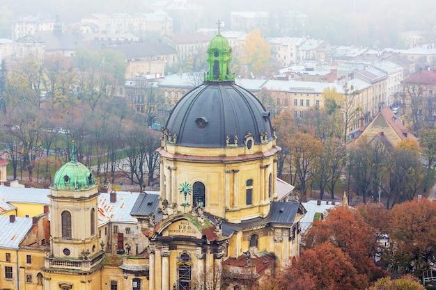 안개가 하루에 lviv에 변형 교회