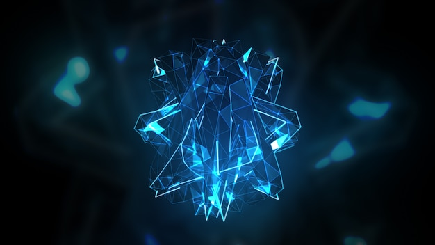 Transforming to music abstract crystal surface 3d illustration