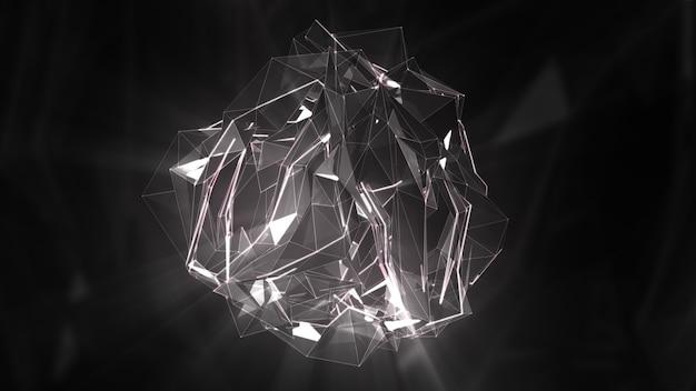 Преобразование в музыку абстрактной поверхности кристалла 3d иллюстрации
