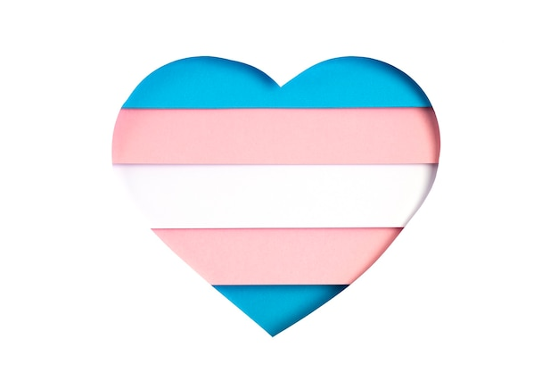 Transgender flag in the form of paper cut out shape with blue, pink and white colors. love, pride, diversity, tolerance, equality concept