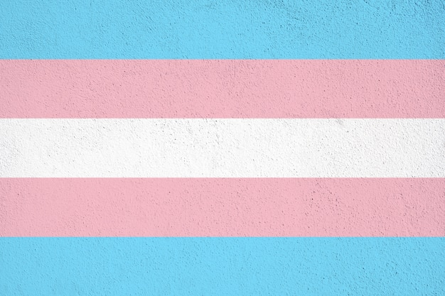 Transgender flag painted on concrete wall on outdoor. transgender grunge background