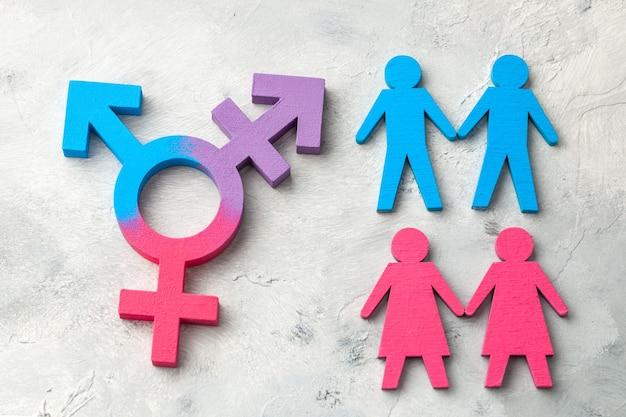 トランスジェンダーのシンボル。手をつないでいるレズビアンとゲイのカップル。