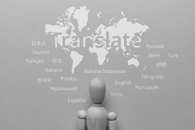 Translate from different languages on an abstract world map