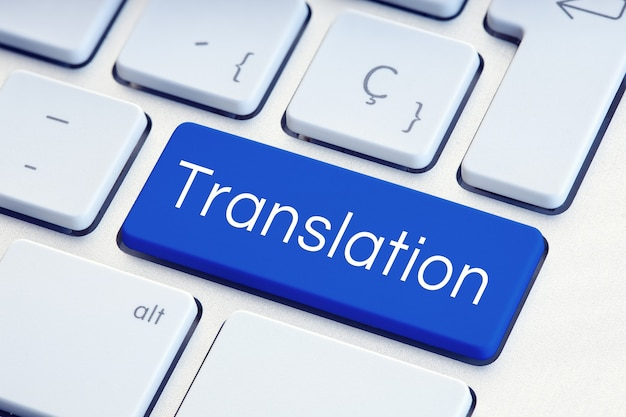 Translation word on blue computer keyboard key