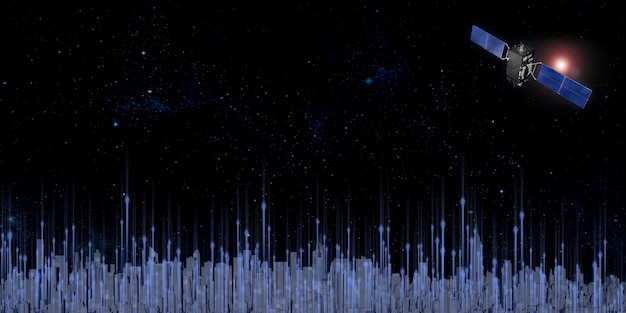 Transmission of satellite signals in the sky above the big city filled with tall buildings