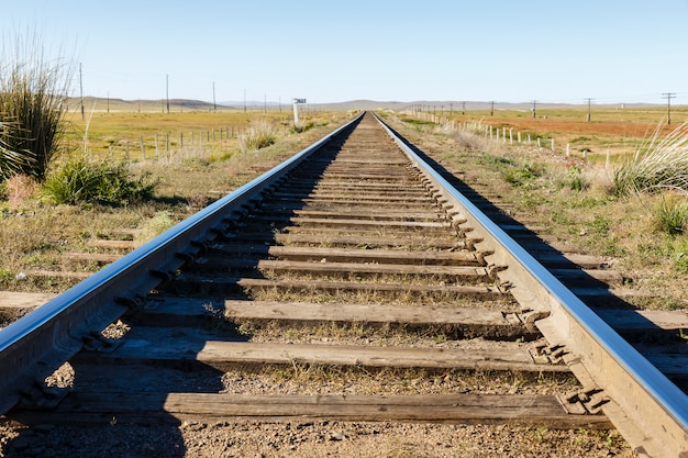 Transmongol railway, single-track railway in steppe