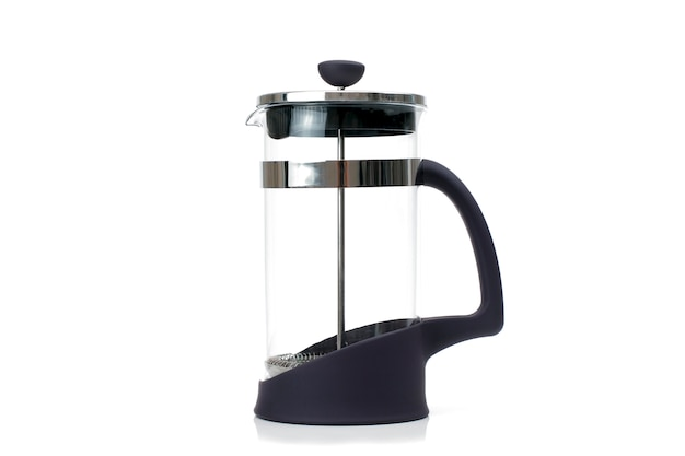 Transparent blank french press isolated