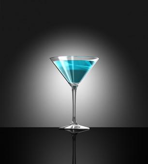 Transparent blue cocktail glass reflecting on bar surface.