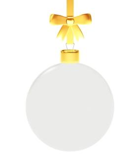 Прозрачный елочный шар с золотой лентой