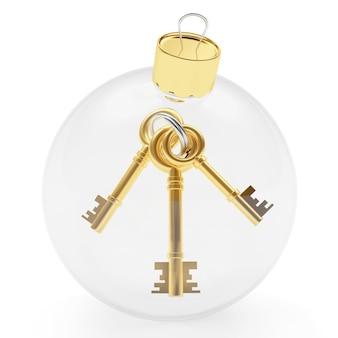 キー付きの透明なクリスマスボール