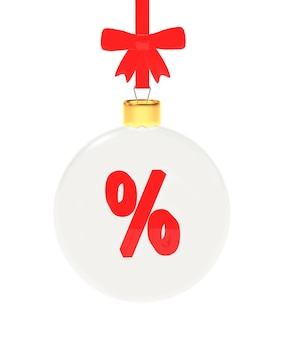 Transparent christmas ball with percentage sign