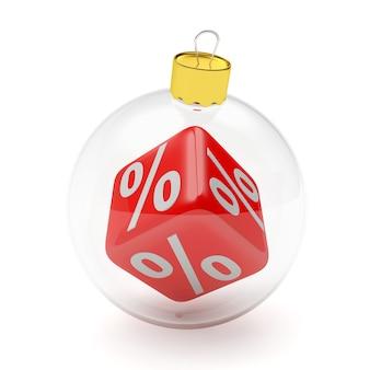 Прозрачный елочный шар с красным кубом со знаком процента