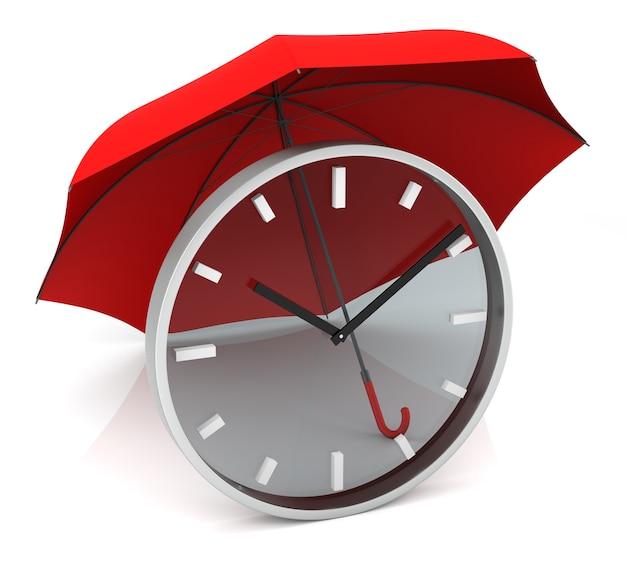 Прозрачные часы с красным зонтиком. 3d-рендеринг