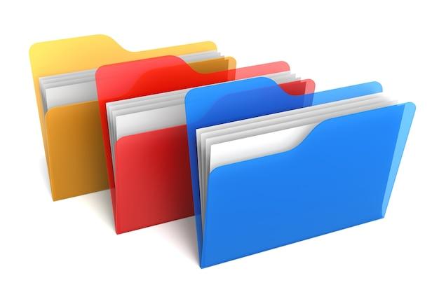 투명 컬러 폴더 및 파일. 3d 렌더링