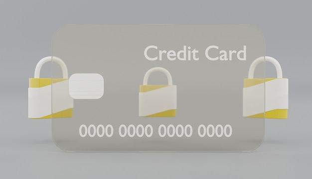 회색 배경에 뒤에 노란색 보안 잠금 장치가있는 투명 신용 카드. 3d 렌더링