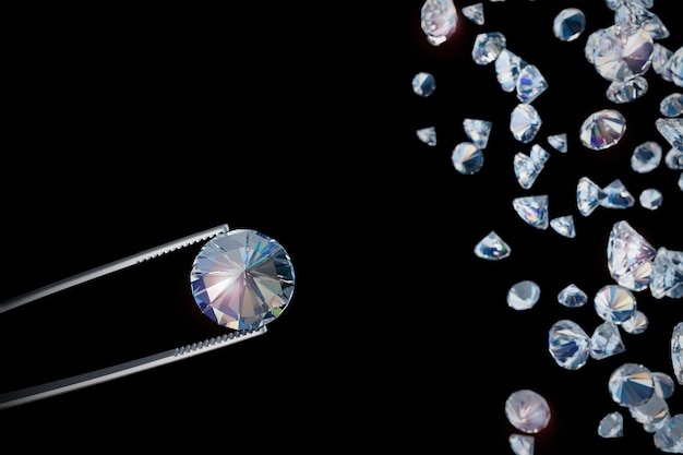 A transparent crystal with tweezers shimmers against a dark background. a precious stone. 3d rendering.
