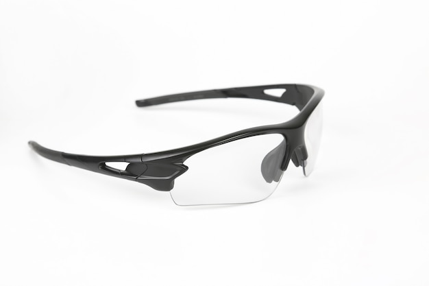 Transparent cycling sunglasses on white background