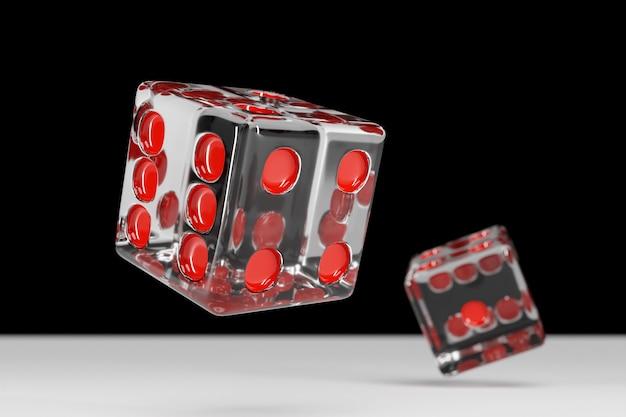 透明なサイコロのデザイン。 2つのサイコロカジノゲームテンプレートの概念。カジノの背景。