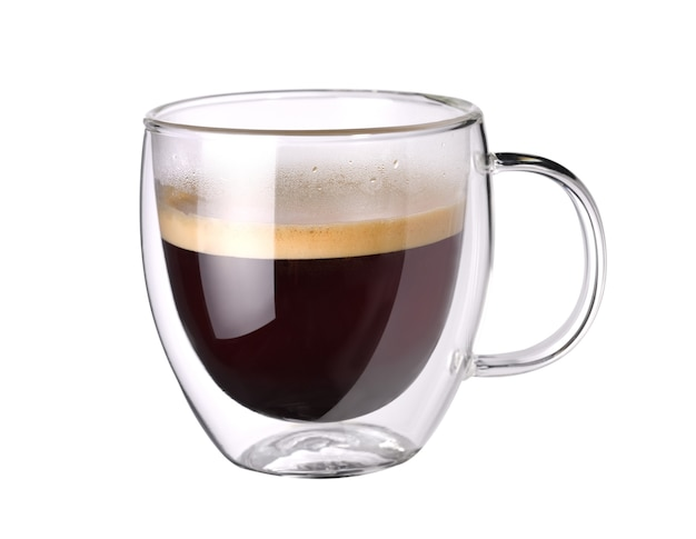 Transparent double wall glass of espresso coffee isolated on white background