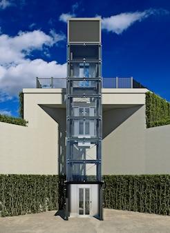 Transparent elevator external elevator 3d rendering
