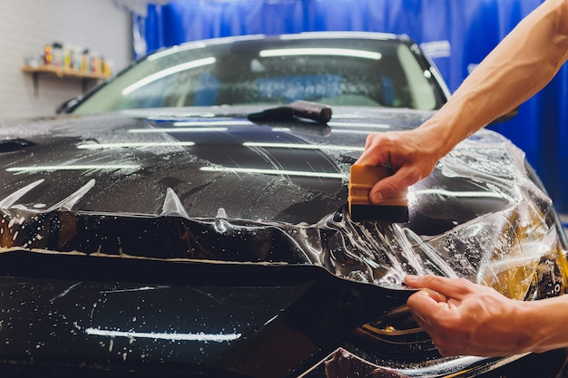 Transparent film, car paint protection, wrapping specialis.