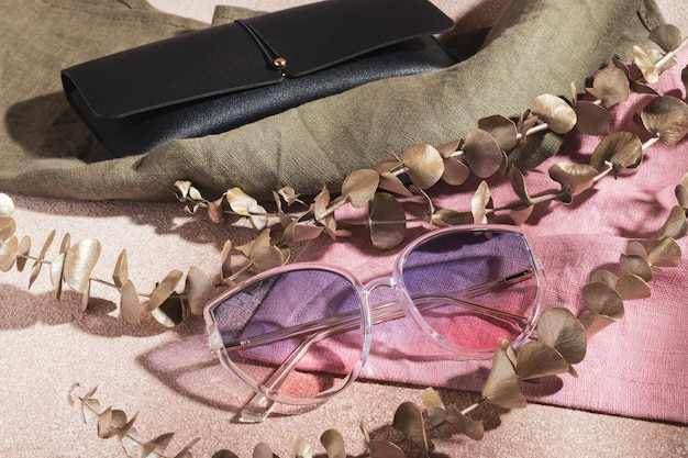 Transparent frame gradient sunglasses and black leather case for glasses