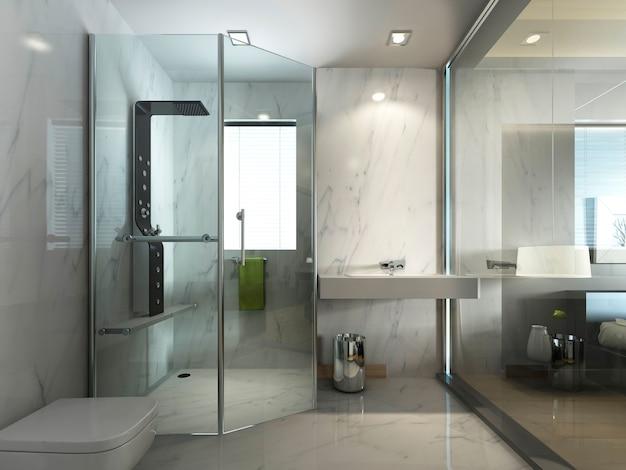 Прозрачная стеклянная ванная комната с душем и туалетом в современном стиле. 3d визуализация.