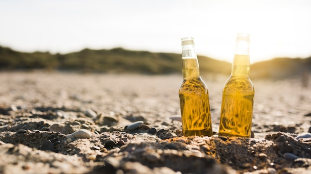 Transparent glass beer bottles in sand at beach
