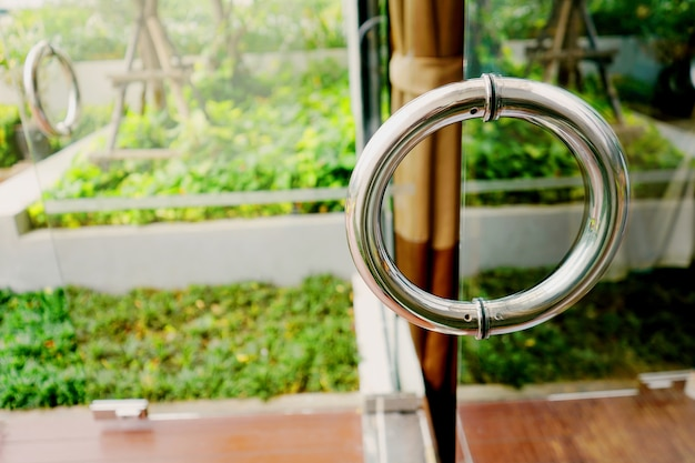 Transparent glass door with stainless handle.