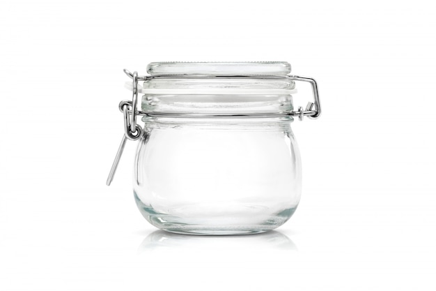 Transparent glass jar for kitchenware isolated