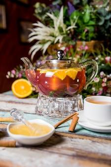 Прозрачный чайник с фруктовым чаем, медом с корицей.
