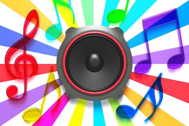 Прозрачный разноцветный музыкальный дизайн. 3d-рендеринг