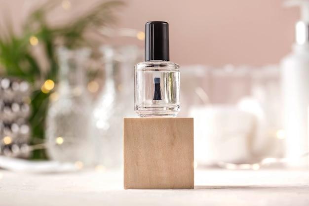 Прозрачная концепция лака для ногтей салона красоты маникюрная копия пространства
