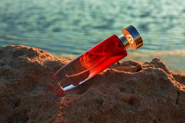 Transparent perfume bottles against the evening sunset. female beauty concept