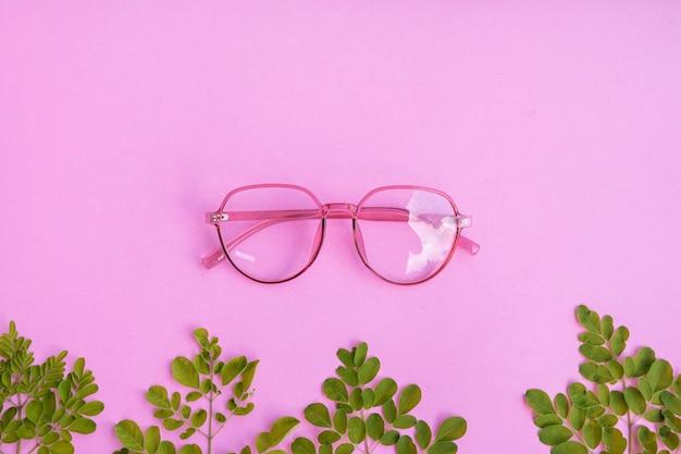 緑の葉のアクセサリーとパステルピンクの紙の背景に透明なピンクの眼鏡